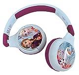 Lexibook HPBT010FZ Eiskönigin 2-in-1-Bluetooth-Kopfhörer für Kinder-Disney ELSA Anna Olaf-Stereo Wireless Wired, Kindersicher für Jungen Mädchen, faltbar, verstellbar, blau/lila
