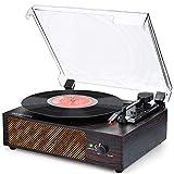 Plattenspieler mit Lautsprecher Plattenspieler Bluetooth Retro Schallplattenspieler mit Lautsprecher Drahtloser tragbaren 3-Gang 33/45/78 U/min und Eingebauter 2 Stereo Lautsprechern Aux in RCA